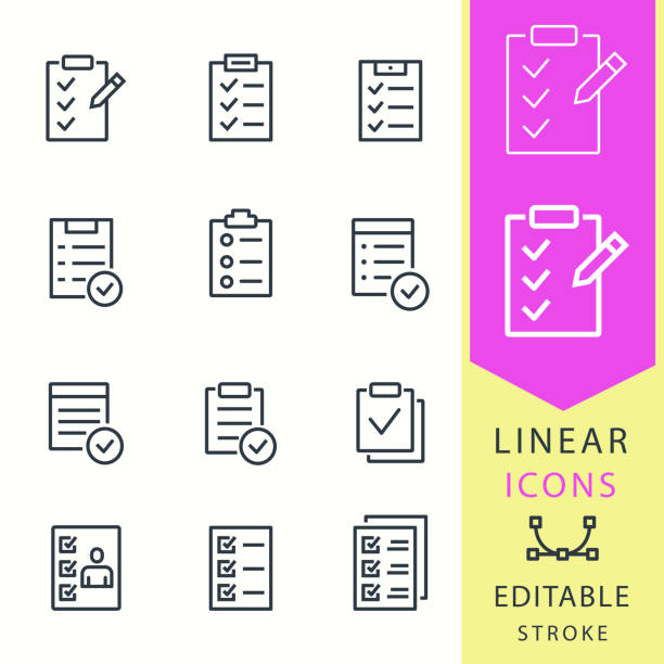 ШАБЛОН ДЛЯ НАБОР ЭДИТЭЙБЛ СТРОК Checklist vector icons set. Black illustration isolated for graphic and web design. Editable stroke. chores stock illustrations