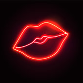 Retro neon lips sign. Design element for Happy Valentine's Day. Ready for your design, greeting card, banner. Vector illustration.