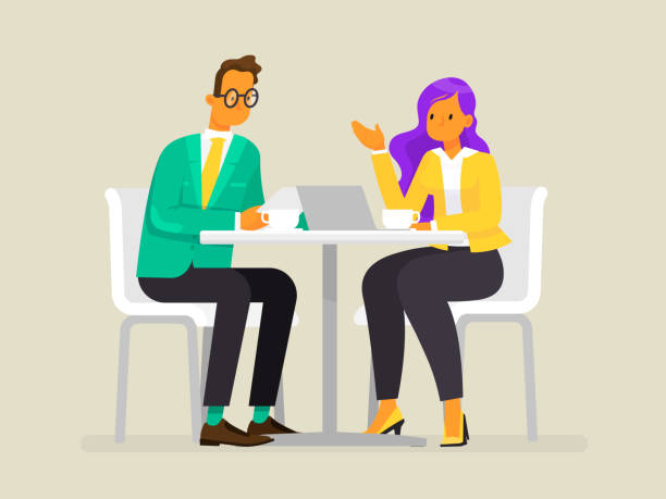 бизнес люди за столиком флет Conversation of business people. A man and a woman are discussing the project. Vector illustration in a flat style two people stock illustrations