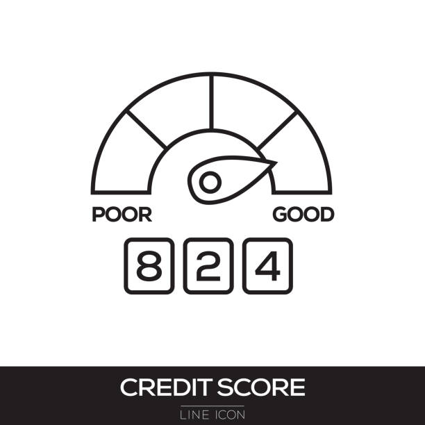 credit score line icon - credit score stock illustrations, clip art, cartoons, & icons