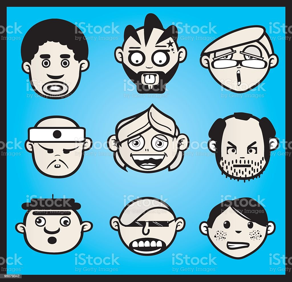 FACES BLUE SKY royalty-free stock vector art