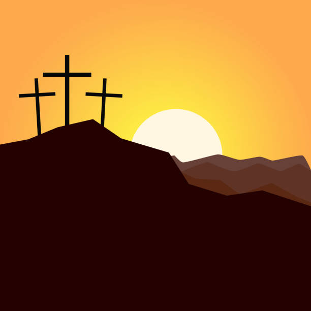 Three Crosses On A Hill Clipart