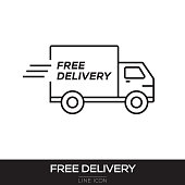 FREE DELIVERY LINE ICON
