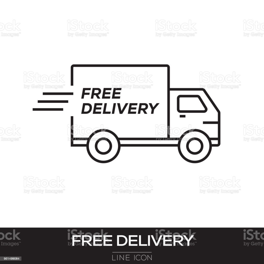 FREE DELIVERY LINE ICON vector art illustration