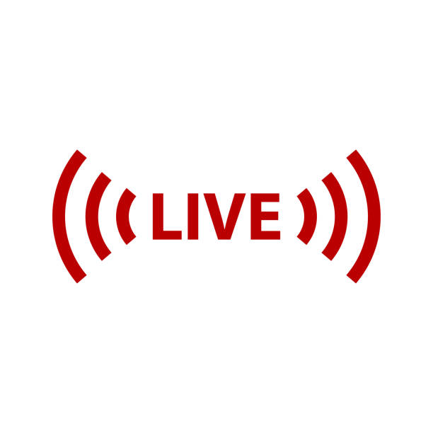 Печать Live streaming sign icon. Vector icon illustration broadcasting stock illustrations