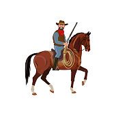 Cowboy riding a beautiful prancing horse. Vector illustration isolated on white background