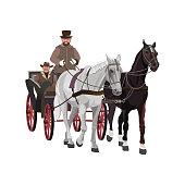 Horse-drawn carriage. Vector illustration isolated on white background