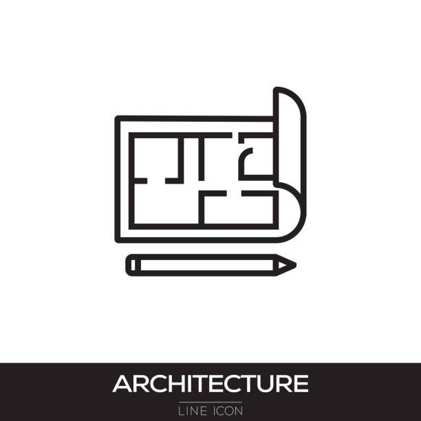 ICONO DE LA LÍNEA DE ARQUITECTURA - ilustración de arte vectorial