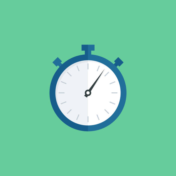 illustrations, cliparts, dessins animés et icônes de choronometre icône plate - chronomètre