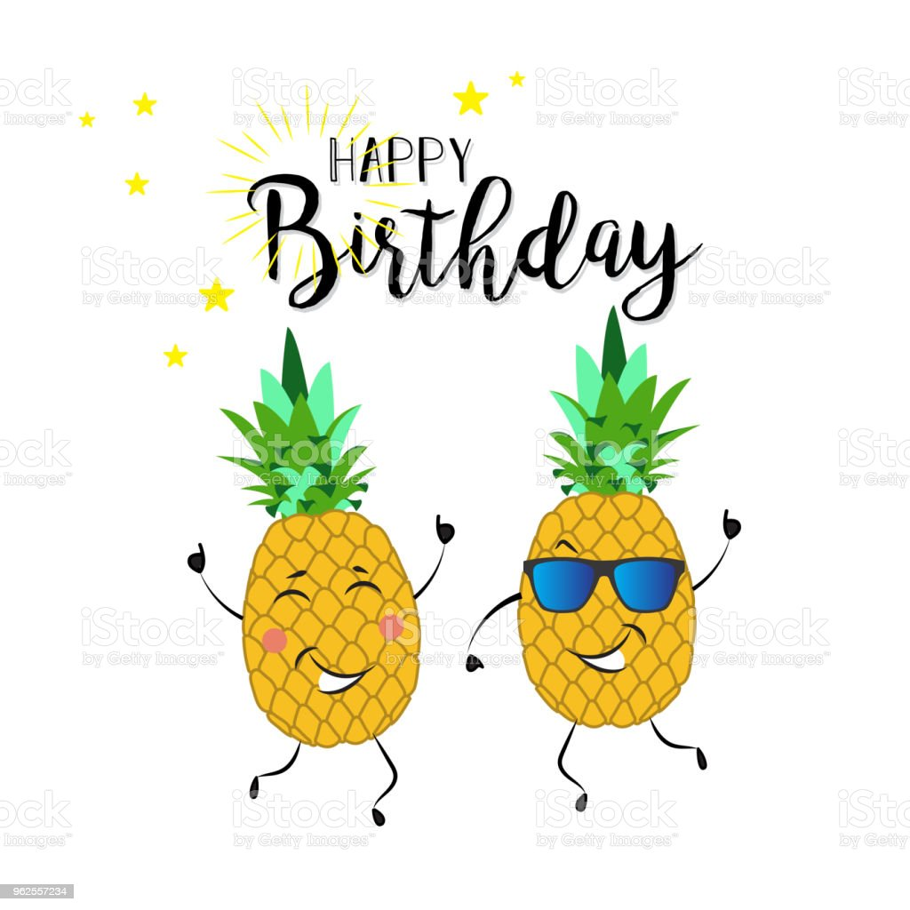 Cute Funny Dancing Pineapple On White Background Happy