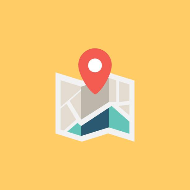 ilustraciones, imágenes clip art, dibujos animados e iconos de stock de mapa plano ícono - íconos de mapas