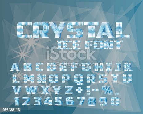 Ice crystal alphabet. Frozen water in the shape of the alphabet