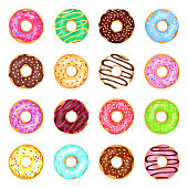 Sweet donuts set. Cute small fried cake of sweetened dough, in the shape of a ball or ring, tasty party bakery. Vector flat style cartoon donuts illustration isolated on white background.