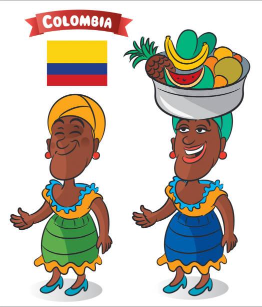kolumbien-frau - cartagena stock-grafiken, -clipart, -cartoons und -symbole