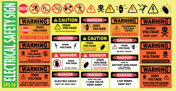 SET OF ELECTRICAL SAFETY SIGN - (high voltage, electric fence, do not touch, keep away, hazardous, restricted area, keep out, live wires, do not enter, shock burn) SET OF ELECTRICAL SAFETY SIGN - (high voltage, electric fence, do not touch, keep away, hazardous, restricted area, keep out, live wires, do not enter, shock burn) danger stock illustrations