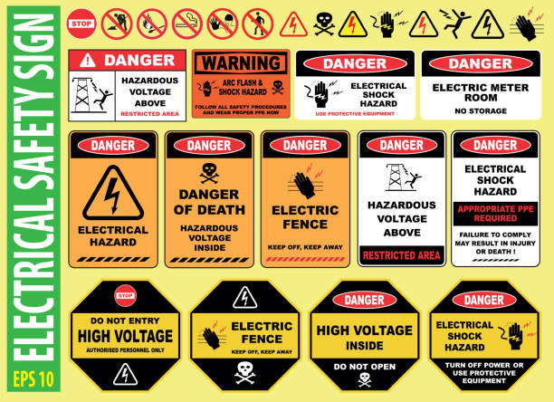 SET OF ELECTRICAL SAFETY SIGN SET OF ELECTRICAL SAFETY SIGN - (high voltage, electric fence, do not touch, keep away, hazardous, restricted area, keep out, live wires, do not enter, shock burn) high voltage sign stock illustrations