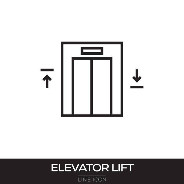 illustrazioni stock, clip art, cartoni animati e icone di tendenza di elevator lift line icon - ascensore