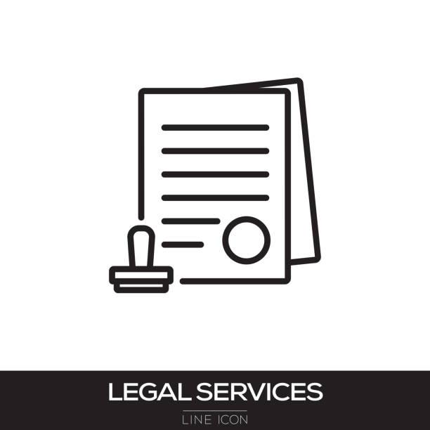 stockillustraties, clipart, cartoons en iconen met pictogram van de lijn van de juridische diensten - notaris