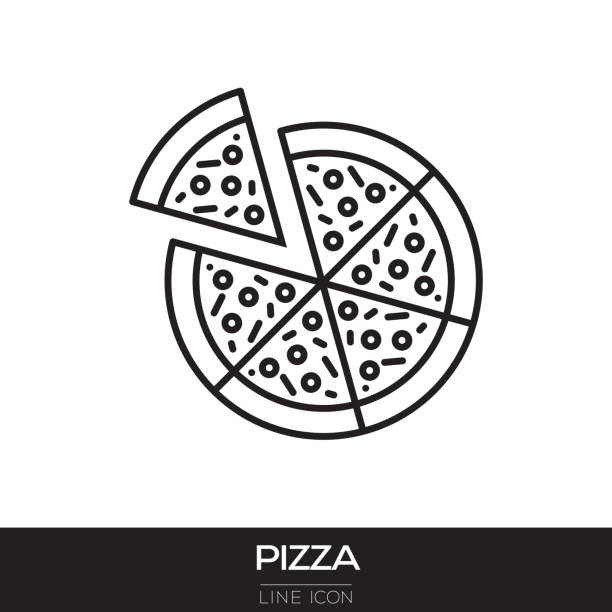 PIZZA LINE ICON vector art illustration