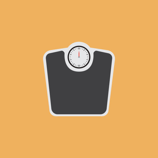 weight scales flat icon - waga opis fizyczny stock illustrations