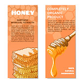 Honey hand drawn banner. Healthy sweet food made by bees, beekeeping or apiculture business poster. Vector flat style cartoon illustration isolated on white background, copy space for text