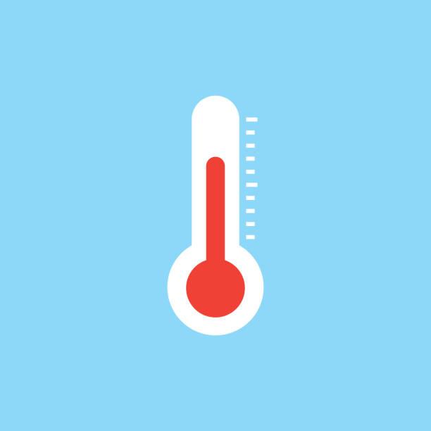stockillustraties, clipart, cartoons en iconen met thermometer platte pictogram - thermometer