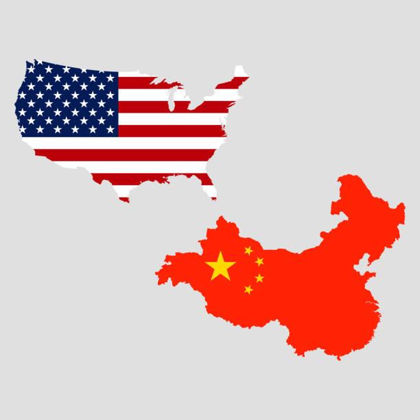 Печать USA and China maps. Vector illustration. Grey back tariff stock illustrations
