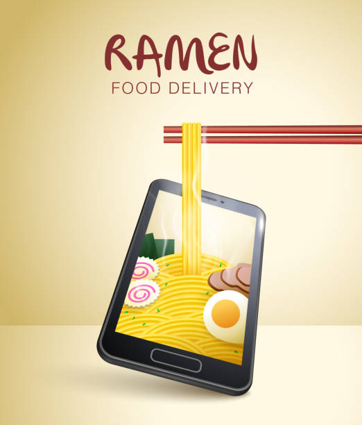 food online delivery. food delivery app. order food online. noodle with chopsticks. smart phone visual concept for food online delivery. different perspective & angle. - food delivery stock illustrations