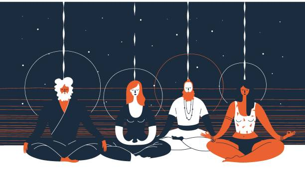 000)))_skull_and_roses Group of people sitting in yoga posture and meditating against abstract blue and orange background with horizontal lines and circles. Concept of collective spiritual practice. Vector illustration yogi stock illustrations