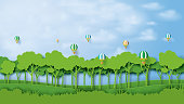 Green silhouette forest plantation and blue sky landscape abstract background.Nature and environment conservation concept flat design.Vector illustration.