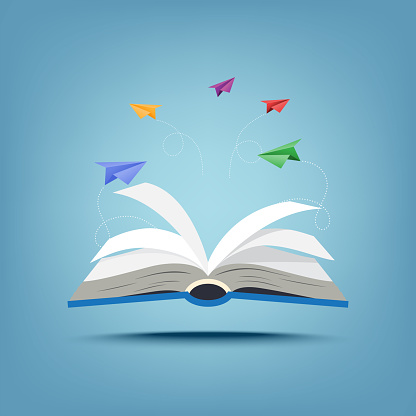 01.Open book and creative paper airplanes teamwork paper art style