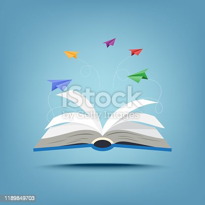 istock 01.Open book and creative paper airplanes teamwork paper art style 1189849703