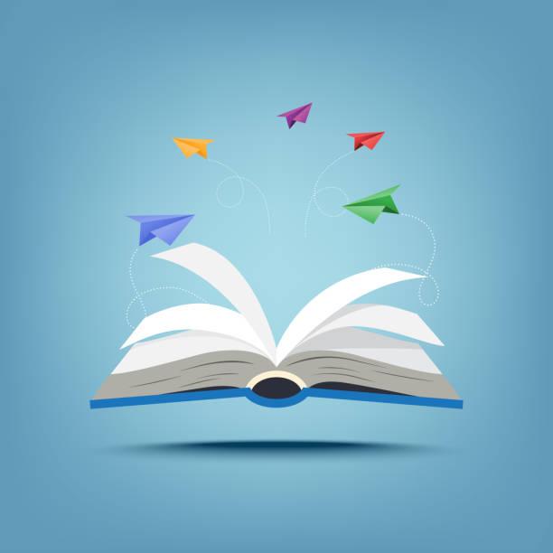 ilustrações, clipart, desenhos animados e ícones de 01.open livro e papel criativo aviões estilo de arte de papel em equipe - aberto