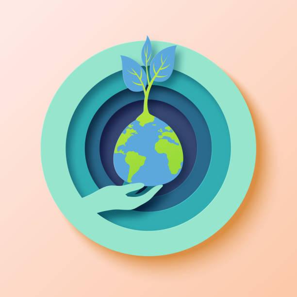 01.Save the world paper art style vector art illustration