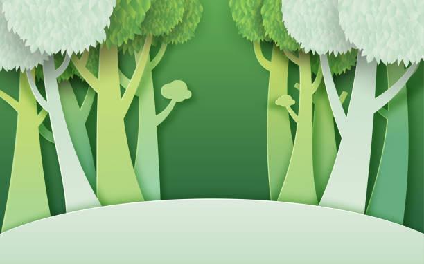 02.Green forest paper cut concept vector art illustration