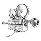 Filmmaking camera sketch. Black hand drawn object on white background. Vector illustration.