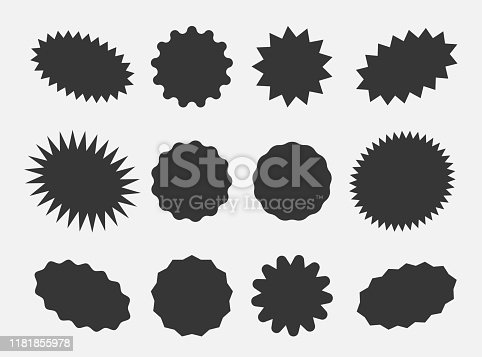 Starburst speech bubbles, bursting sticker promo badges, sunburst promotion tag. Explosion star button vector illustration