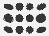 Starburst speech bubbles, bursting sticker promo badges, sunburst promotion tag. Explosion star button vector illustration