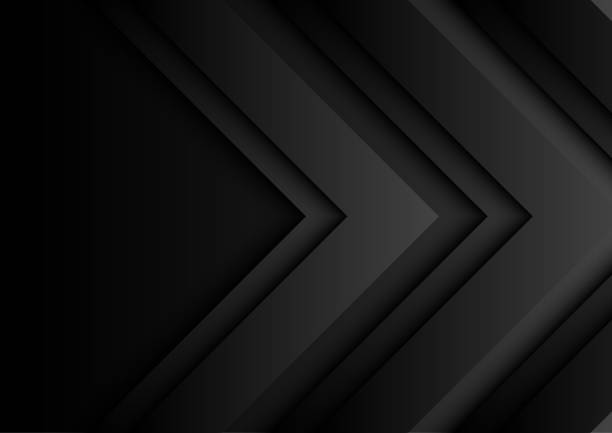06.black arrows on dark background with paper art style - angle stock illustrations