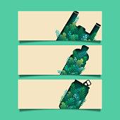 06.Set of Green ecology banner zero waste