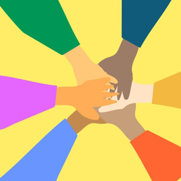 illustrazioni stock, clip art, cartoni animati e icone di tendenza di 0855_teamwork - mano donna dita unite