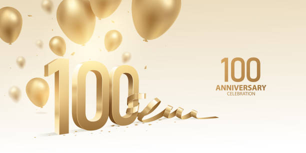 100th Anniversary Celebration Background 100th Anniversary celebration background. 3D Golden numbers with bent ribbon, confetti and balloons. 100th anniversary stock illustrations