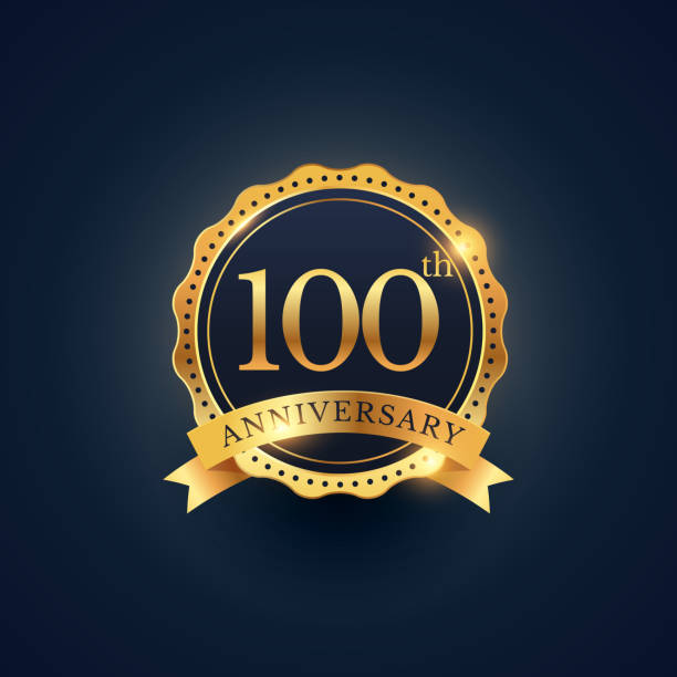 100th anniversary celebration badge label in golden color 100th anniversary celebration badge label in golden color 100th anniversary stock illustrations