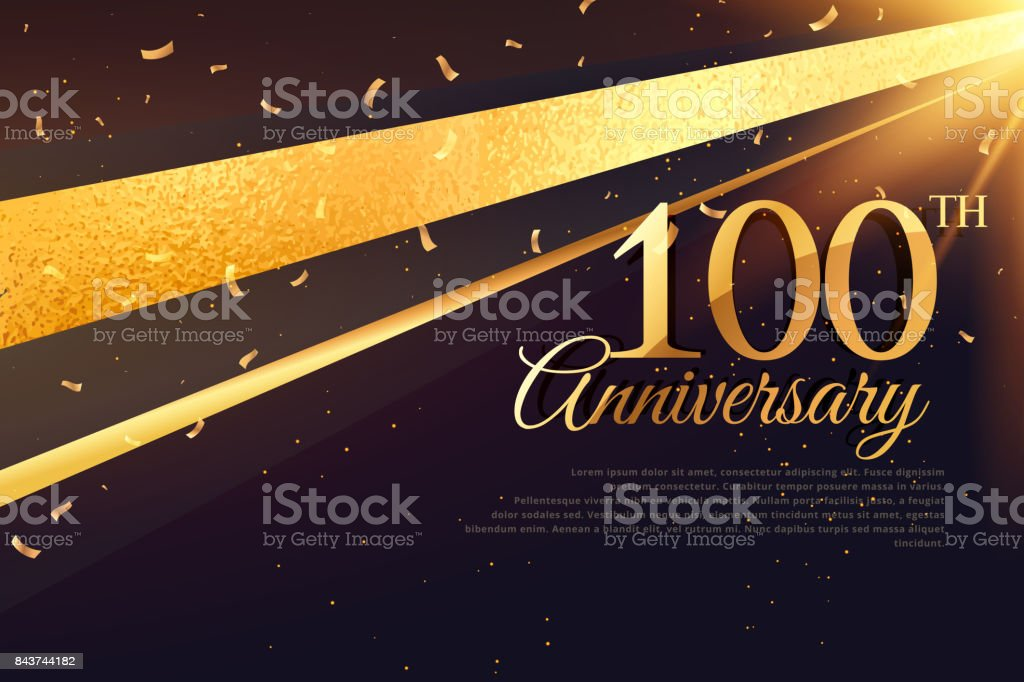 100th anniversary celebration card template vector art illustration