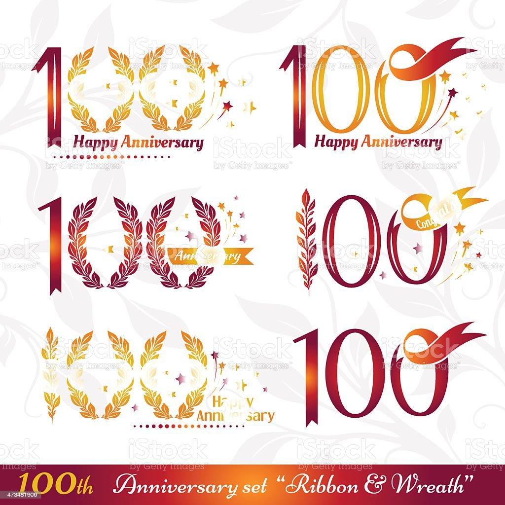 100th anniversary emblems vector art illustration