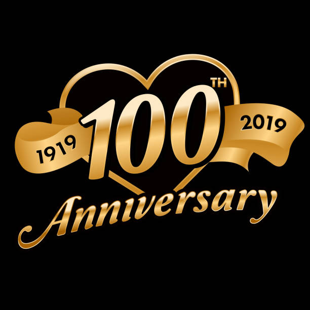 100th Anniversary Symbol 100th Anniversary symbol with gold ribbon 100th anniversary stock illustrations