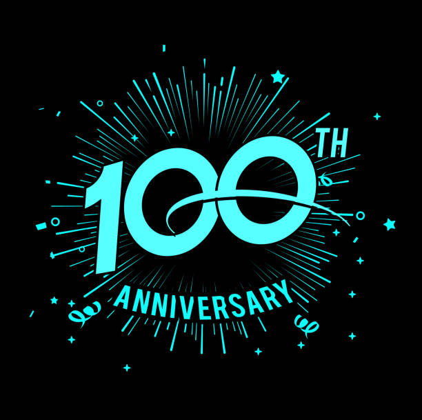 100th anniversary  with firework background. glow in the dark design concept anniversary  with firework background. glow in the dark design concept 100th anniversary stock illustrations