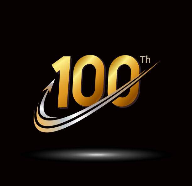 100th anniversary with swoosh and arrow icon. fast and forward golden anniversary logo on black background anniversary with swoosh and arrow icon. fast and forward golden anniversary logo on black background 100th anniversary stock illustrations