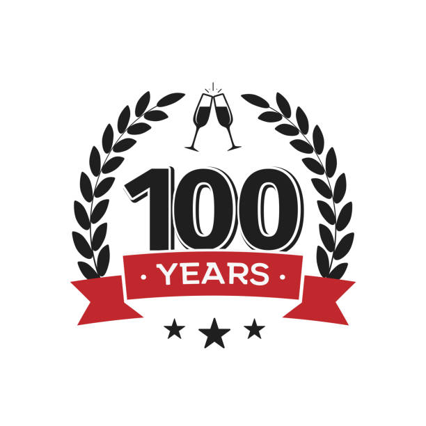 100th birthday vintage icon template. Hundred years anniversary retro isolated vector emblem with red ribbon and laurel wreath on white background. 100th birthday vintage label template. Hundred years anniversary retro isolated vector emblem with red ribbon and laurel wreath on white background. 100th anniversary stock illustrations