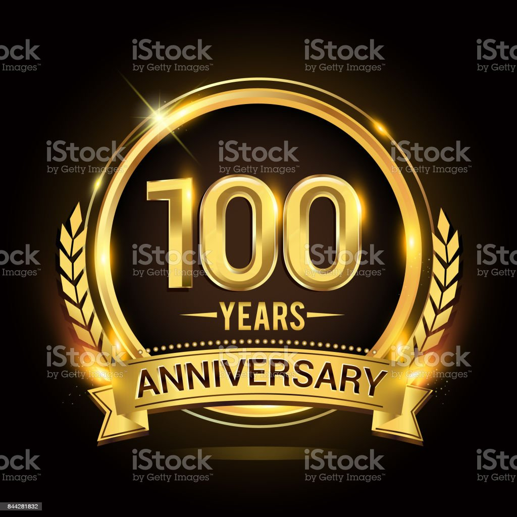 100th golden anniversary icon, with shiny ring and gold ribbon, laurel wreath isolated on black background, vector design vector art illustration